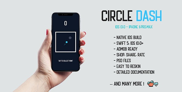 Download Circle Dash v1.0 - native iOS 13.0 mobile game app iPhone 11 corona Free / Nulled