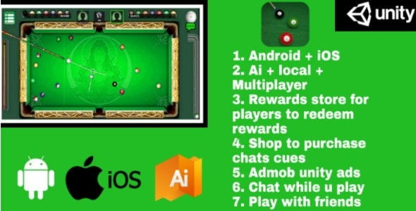 Download Billiards Multiplayer v1.8 - 8 Ball Pool (With AI and reward store) Android + IOS Free / Nulled