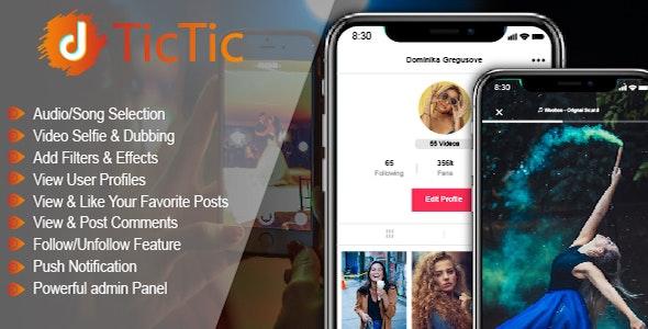 Download TicTic  v2.9 - Android media app for creating and sharing short videos Free / Nulled