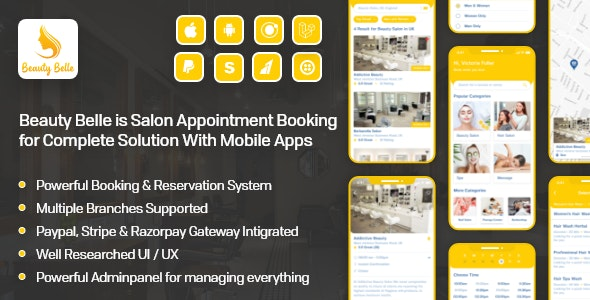 Download Beauty Belle v1.1 - Salon & Spa Appointment Booking App For Android - iOS App with admin panel - nulled Free / Nulled