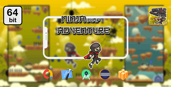 Download Ninja Jump Adventure 64 bit v1.0 - Android IOS With Admob Free / Nulled