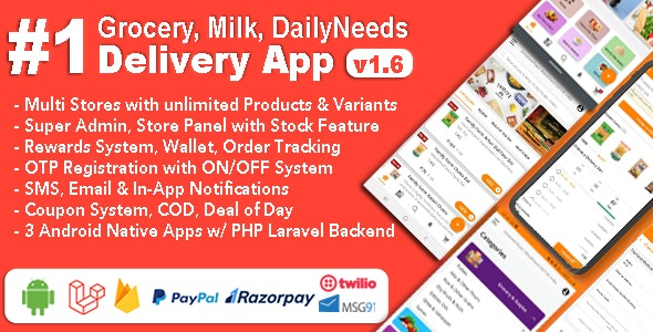 Download Grocery and Vegetable Delivery Android App with Admin Panel v1.6.3 - Multi-Store with 3 Apps Free / Nulled