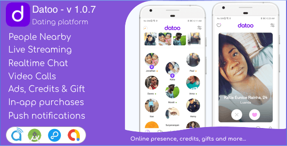 Download Datoo v1.0.7 - Dating platform with Live Steaming and Video calls + Admin Panel Free / Nulled