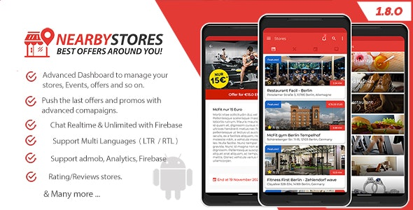 Download NearbyStores Android v1.8.0 - Offers, Events & Chat Realtime + Firebase Free / Nulled