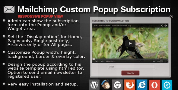 Download Mailchimp Custom Popup Subscription for wordpress v1.4 Free / Nulled