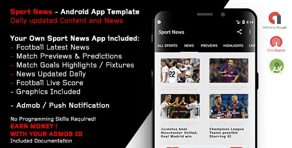 Download Sport News - Football Android App Template (Admob/Push) - 3 april 19 Free / Nulled