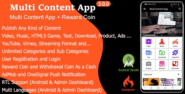 Download Multi Content App v3.0 Free / Nulled