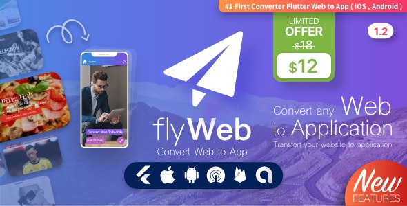 Download FlyWeb for Web to App Convertor Flutter + Admin Panel v1.2 Free / Nulled