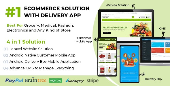 Download Ecommerce Solution with Delivery App For Grocery, Food, Pharmacy, Any Store / Laravel + Android Apps v1.4 Free / Nulled