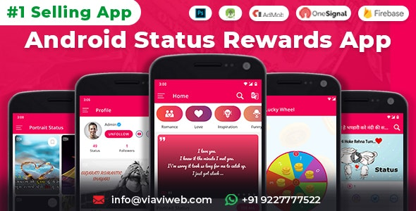 Download Android Status App With Reward Point (Lucky Wheel, WA Status Saver, Video, GIF, Quotes & Image) v8.0 Free / Nulled