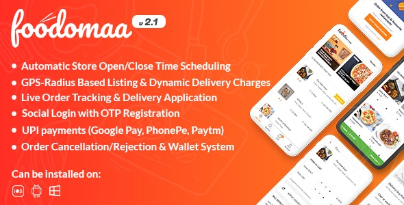 Download Foodomaa v2.1.1 - Multi-restaurant Food Ordering, Restaurant Management and Delivery Application Free / Nulled