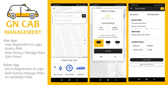 Download GN Cab Management v1.0.1 - Ionic Cab Booking, Taxi Booking Android & iPhone App, PHP Codeigniter Free / Nulled