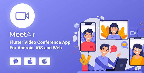 Download MeetAir v1.0.0 - iOS and Android Video Conference App for Live Class, Meeting, Webinar, Online Training Free / Nulled