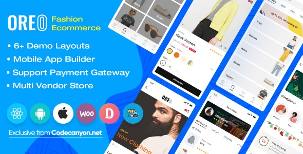 Download Oreo Fashion v2.0.1 - Full React Native App for Woocommerce Free / Nulled