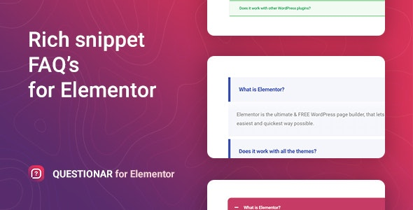Download Questionar v1.0.1 - FAQ Accordions for Elementor Free / Nulled