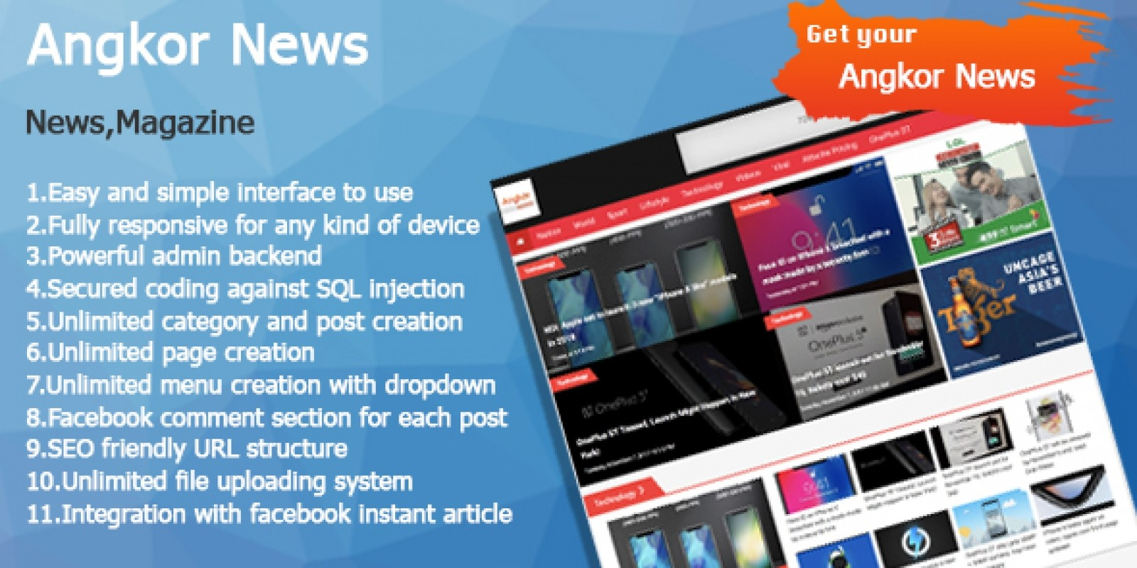 Download Angkor News v1.0 - News CMS PHP Free / Nulled