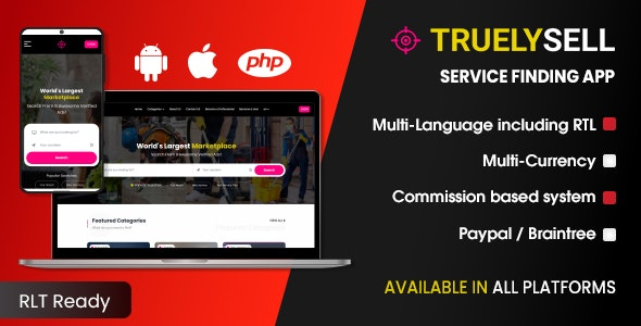 Download TruelySell v1.0.2 - On-demand Service Marketplace, nearby Service Finder and Bookings Web, Android and iOS Free / Nulled