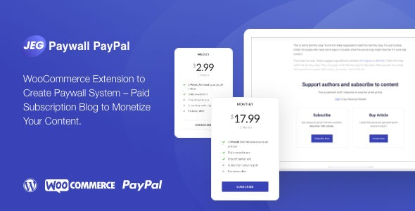 Download Jeg Paypal Paywall & Content Subscriptions System v1.0.1 - WooCommerce Plugin Free / Nulled
