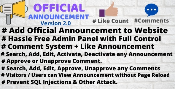 Download Official Announcement Snippet with Admin Panel v2.0 Free / Nulled