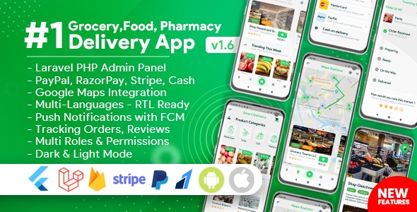 Download Grocery, Food, Pharmacy, Store Delivery Mobile App with Admin Panel v1.6.0 Free / Nulled