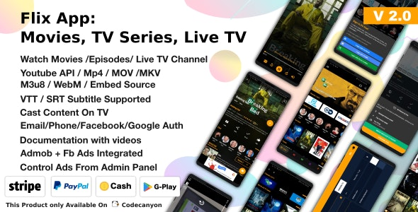Download Flix App Movies v2.2 - TV Series - Live TV Channels - TV Cast Free / Nulled
