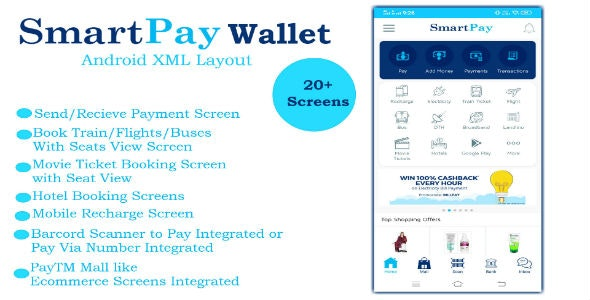 Download SmartPay Wallet v1.0 - Android XML Screens Layout Free / Nulled