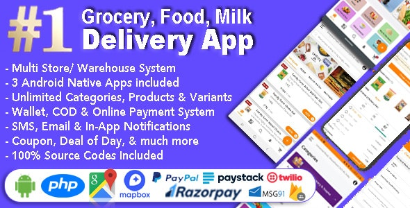 Download Grocery and Vegetable Delivery Android App with Admin Panel v1.6.6 - Multi-Store with 3 Apps Free / Nulled