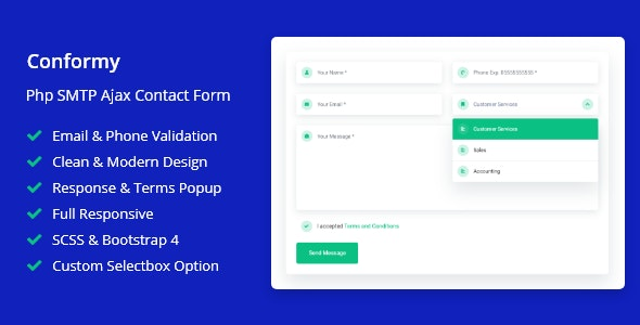 Download Conformy v1.0 - PHP Ajax Modern Contact Form Free / Nulled