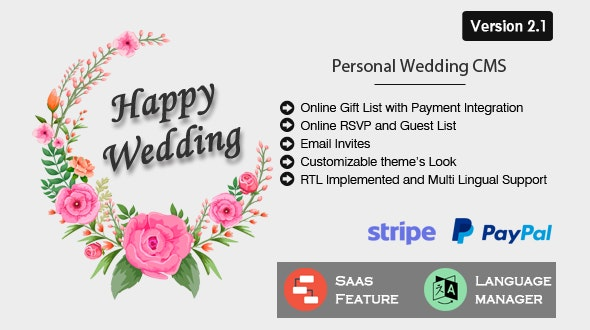 Download Happy Wedding v2.1 - Personal Wedding & Invitation CMS Free / Nulled