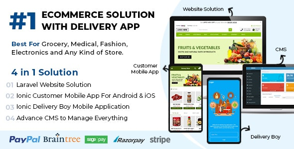 Download Best Ecommerce Solution with Delivery App For Grocery, Food, Pharmacy, Any Stores / Laravel + IONIC5 v1.0.6 Free / Nulled