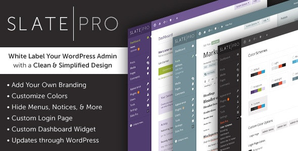 Download Slate Pro v1.1.9 - A White Label WordPress Admin Theme Free / Nulled