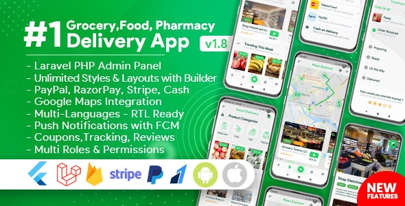 Download Grocery, Food, Pharmacy, Store Delivery Mobile App with Admin Panel v1.8.0 Free / Nulled