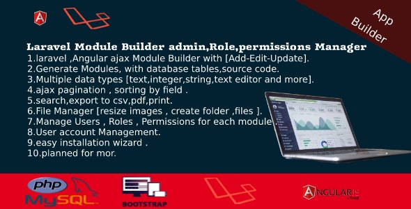 Download Laravel Admin Builder v2.2 - Angular CRUD+Users, Roles, Permission +Files Manager Free / Nulled