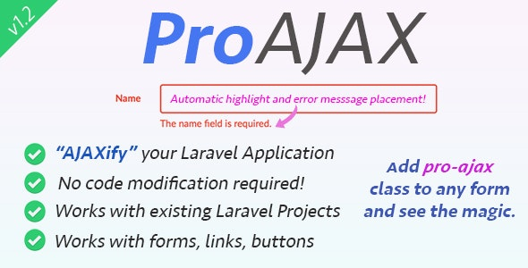 Download ProAjax v1.3 - Automatically Ajaxify Your Laravel Application Free / Nulled