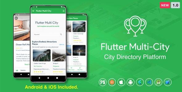 Download Flutter Multi City v1.0 - ( Directory, City Tour Guide, Business Directory, Travel Guide, Booking ) Free / Nulled