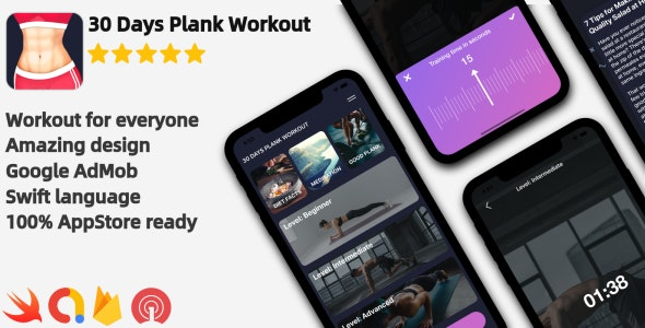 Download Plank Workout v1.0 - iOS Workout Application Free / Nulled