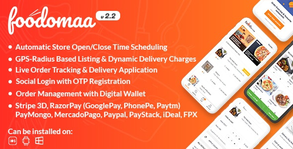Download Foodomaa v2.2.1 - Multi-restaurant Food Ordering, Restaurant Management and Delivery Application Free / Nulled
