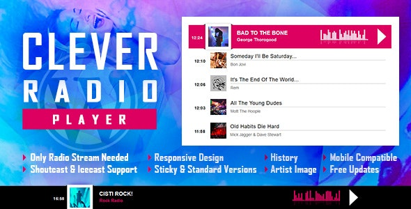 Download CLEVER v1.6.2 - HTML5 Radio Player With History - Shoutcast and Icecast - WordPress Plugin Free / Nulled