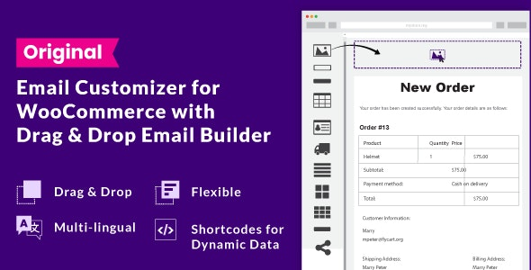 Download WooCommerce Email Customizer with Drag and Drop v1.5.16 - Free / Nulled
