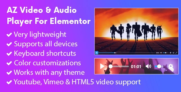 Download AZ Video and Audio Player Addon for Elementor v1.0.9 - Free / Nulled