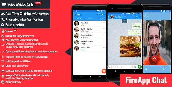Download FireApp Chat v1.3.1 - Android Chatting App with Groups Inspired by WhatsApp Free / Nulled