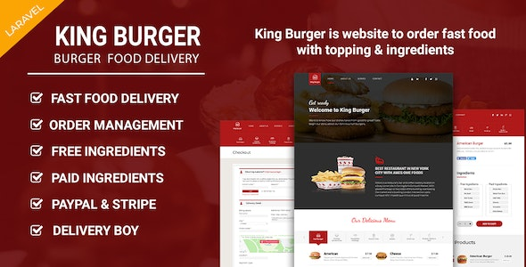 Download King Burger v1.3 - Restaurant Food Ordering website with Ingredients In Laravel Free / Nulled