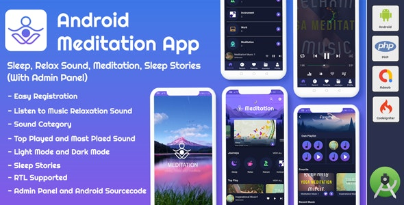 Download Android App Meditation & Relaxation Music with Admin Panel v1.0 - Free / Nulled