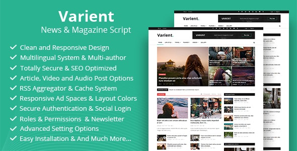 Download Varient v1.8 - News & Magazine Script Free / Nulled