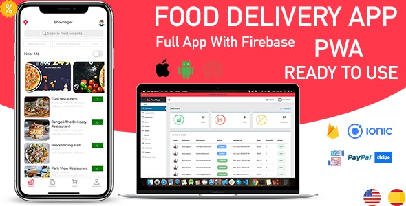 Download ionic 5 food delivery full (Android + iOS + Admin Panel PWA) app with firebase v1.0 Free / Nulled