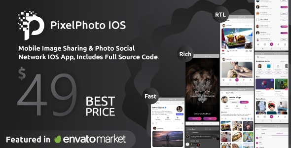 Download PixelPhoto IOS v1.0.4 - Mobile Image Sharing & Photo Social Network Free / Nulled
