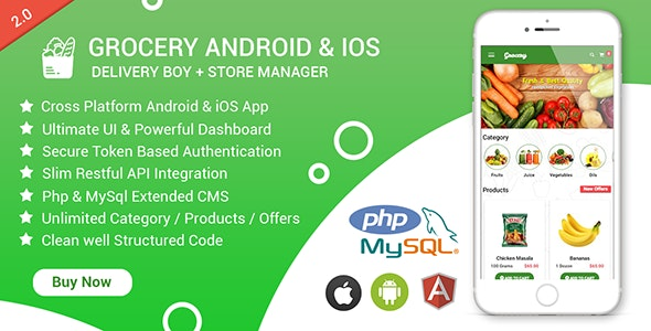 Download Grocery Android & iOS App with Delivery Boy and Store Manager App With CMS v2.4 Free / Nulled