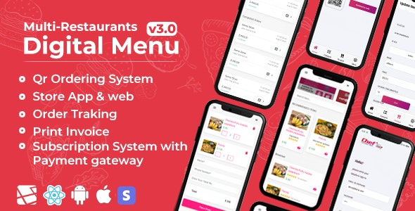 Download Chef v3.0 - Multi-restaurant Saas - Contact less Digital Menu Admin Panel with - React Native App Free / Nulled