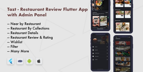 Download Tazt v1.0.0 - Restaurant Review Flutter App with Admin Panel Free / Nulled