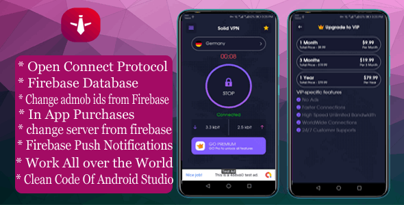Download Solid VPN With Firebase Database And OPEN CONNECT PROTOCOL v1.0.0 Free / Nulled